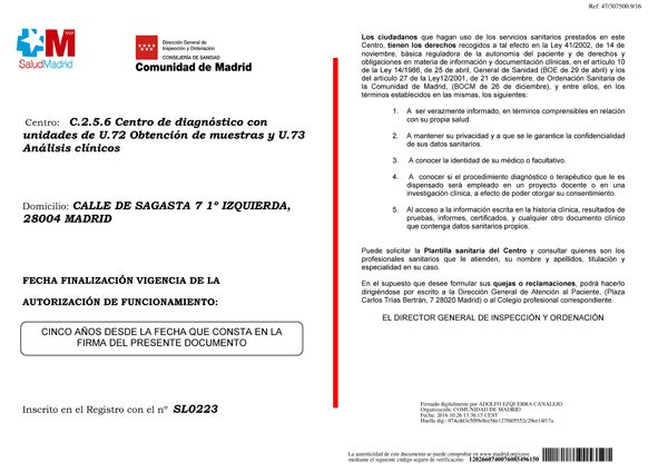 a7f87f1c39ed Autorización análisis clínicos laboratorio Empíreo. Centro autorizado  Análisis Clínicos